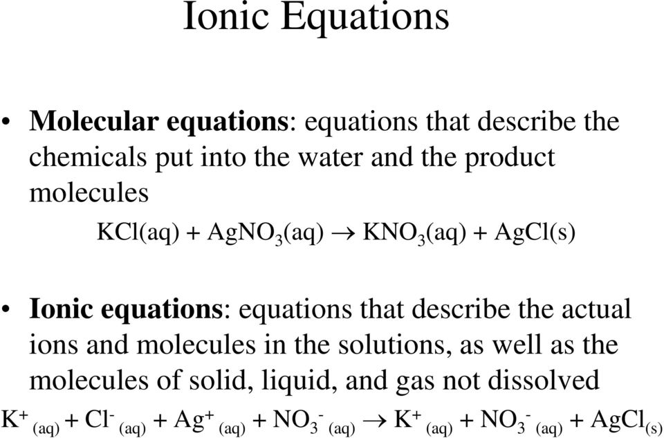describe the actual ions and molecules in the solutions, as well as the molecules of solid, liquid,
