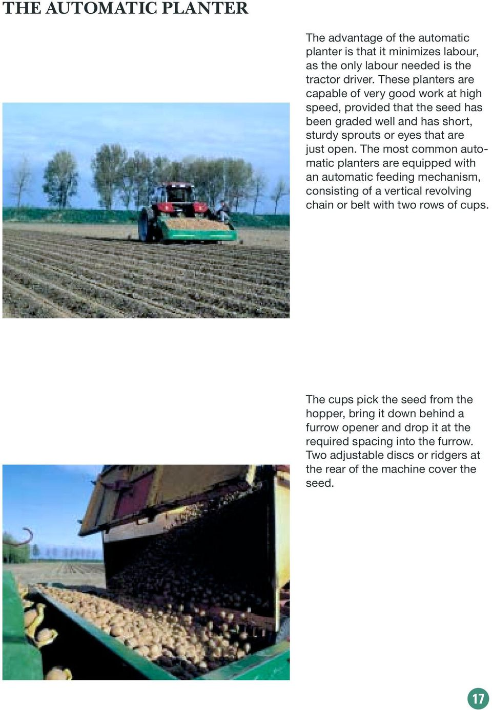 The most common automatic planters are equipped with an automatic feeding mechanism, consisting of a vertical revolving chain or belt with two rows of cups.