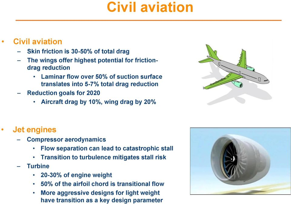 engines Compressor aerodynamics Flow separation can lead to catastrophic stall Transition to turbulence mitigates stall risk Turbine 20-30%