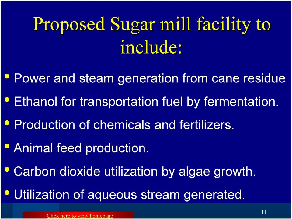 Production of chemicals and fertilizers. Animal feed production.