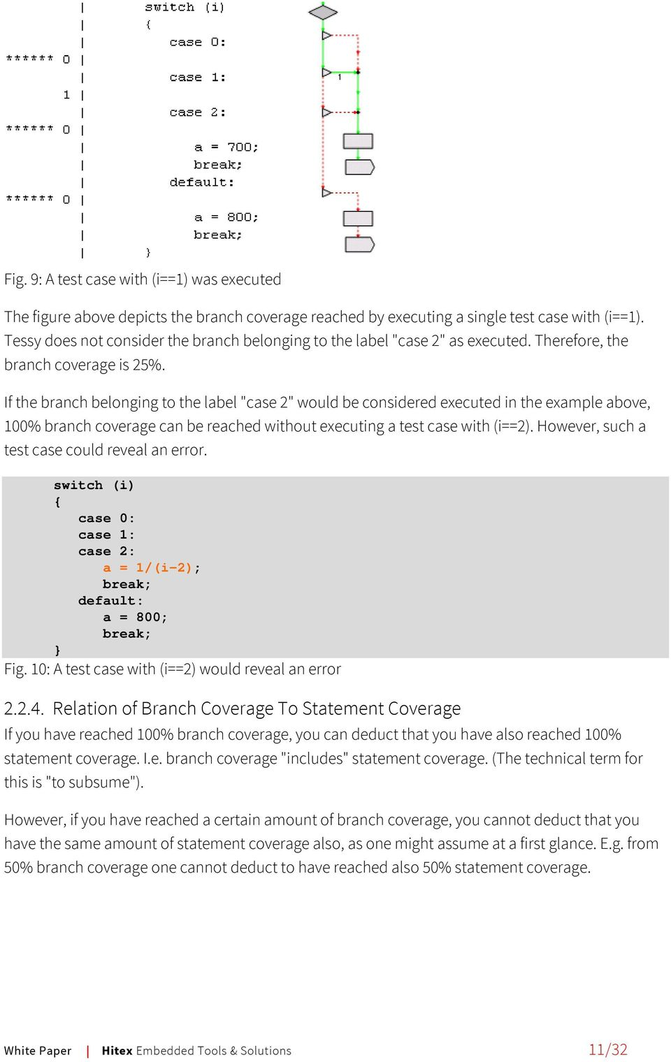 "If the branch belonging to the label ""case 2"" would be considered executed in the example above, 100% branch coverage can be reached without executing a test case with (i==2)."