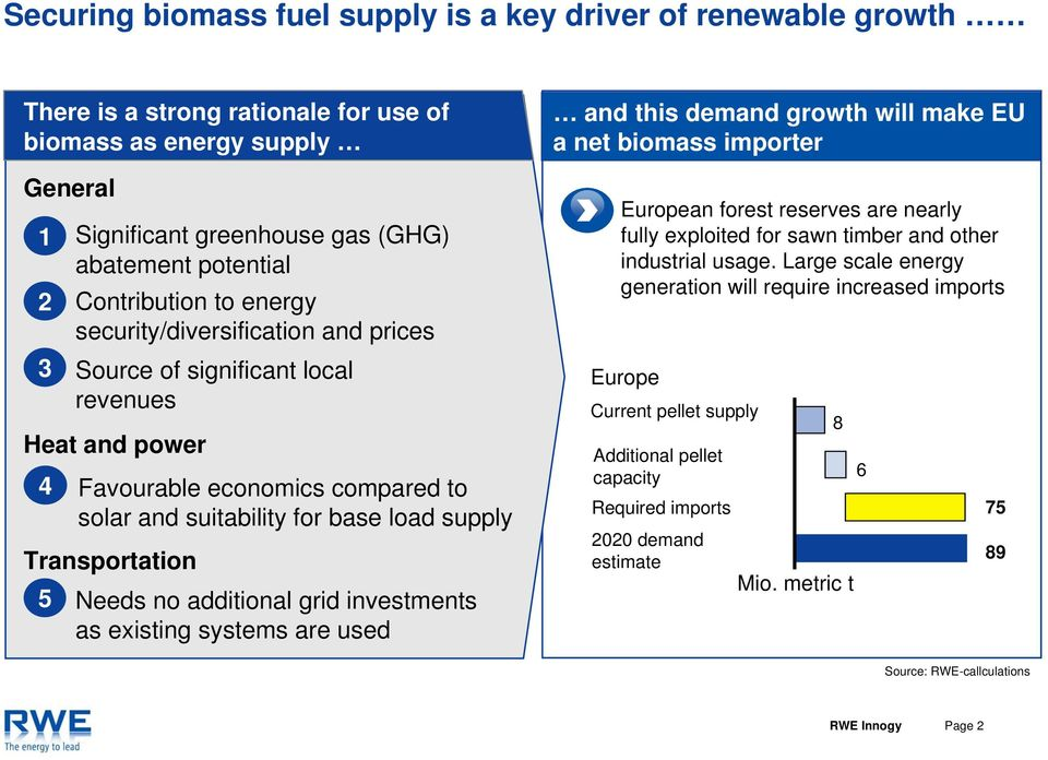 Transportation 5 Needs no additional grid investments as existing systems are used and this demand growth will make EU a net biomass importer European forest reserves are nearly fully exploited for