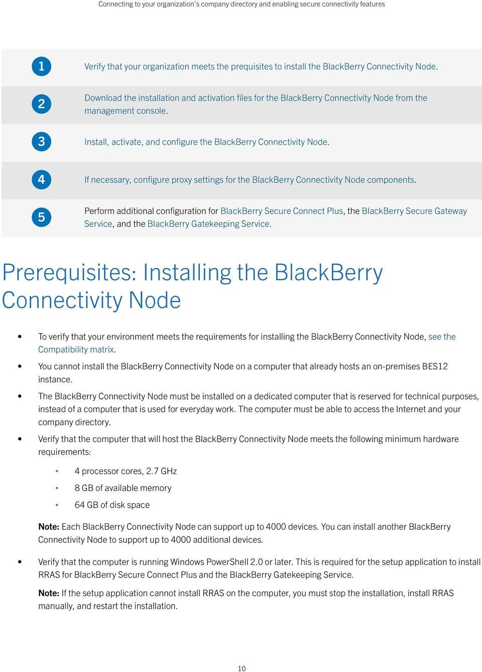 If necessary, configure proxy settings for the BlackBerry Connectivity Node components.