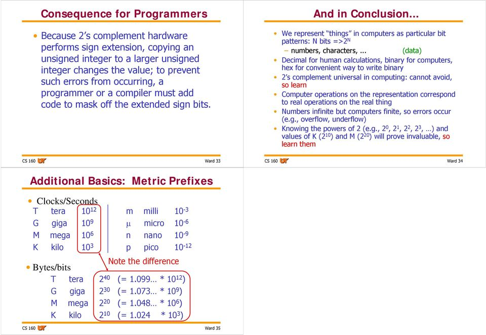 Decimal for human calculations, binary for computers, hex for convenient way to write binary 2 s complement universal in computing: cannot avoid, so learn Computer operations on the representation