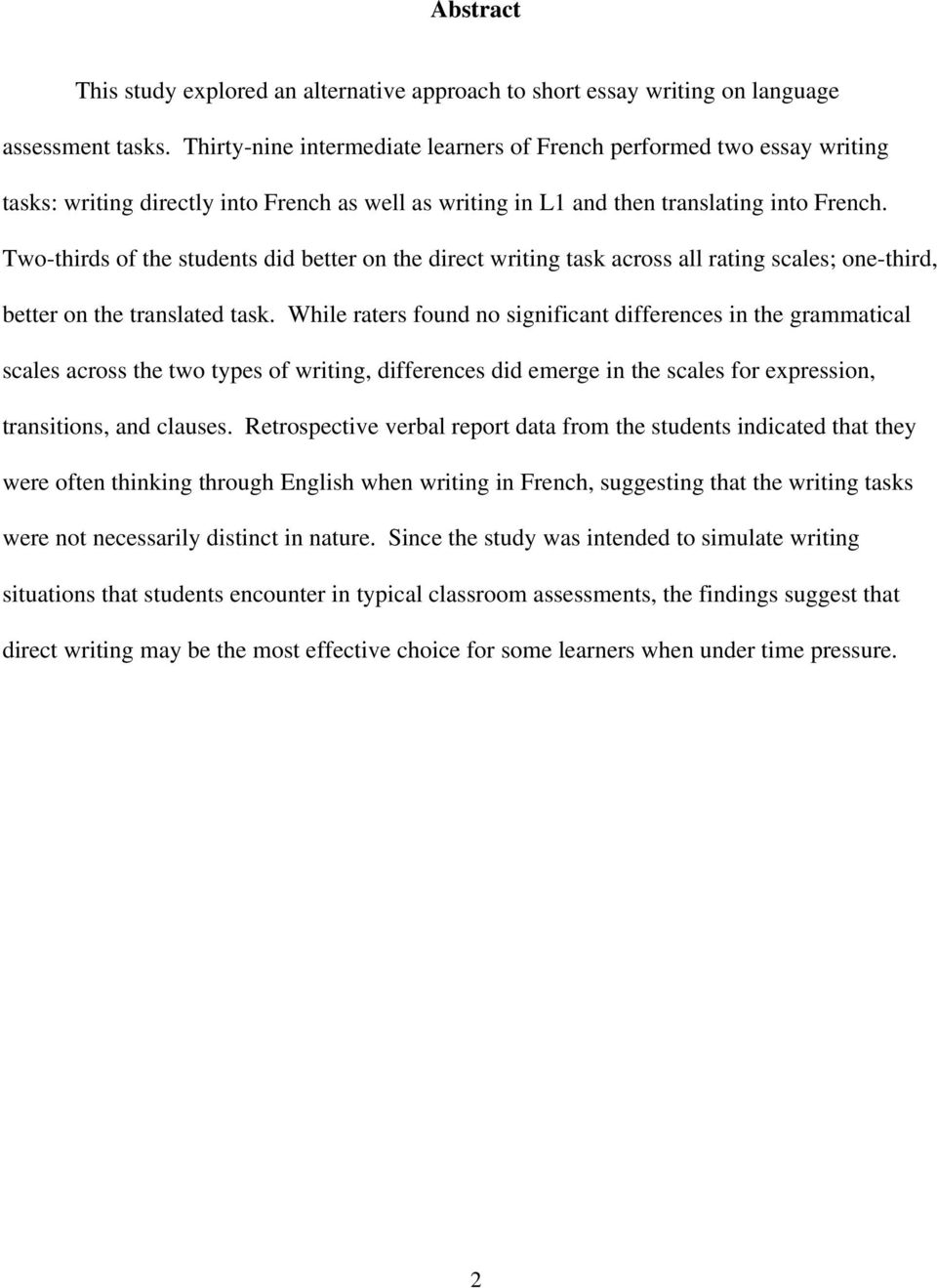 direct vs translated writing what students do and the strategies two thirds of the students did better on the direct writing task across all rating