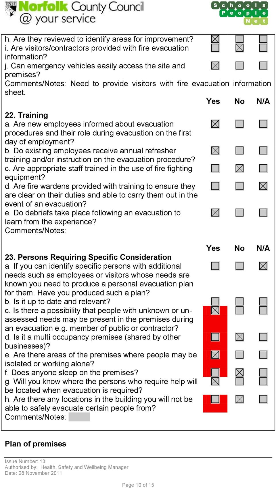 b. Do existing employees receive annual refresher training and/or instruction on the evacuation procedure? c. Are appropriate staff trained in the use of fire fighting equipment? d.