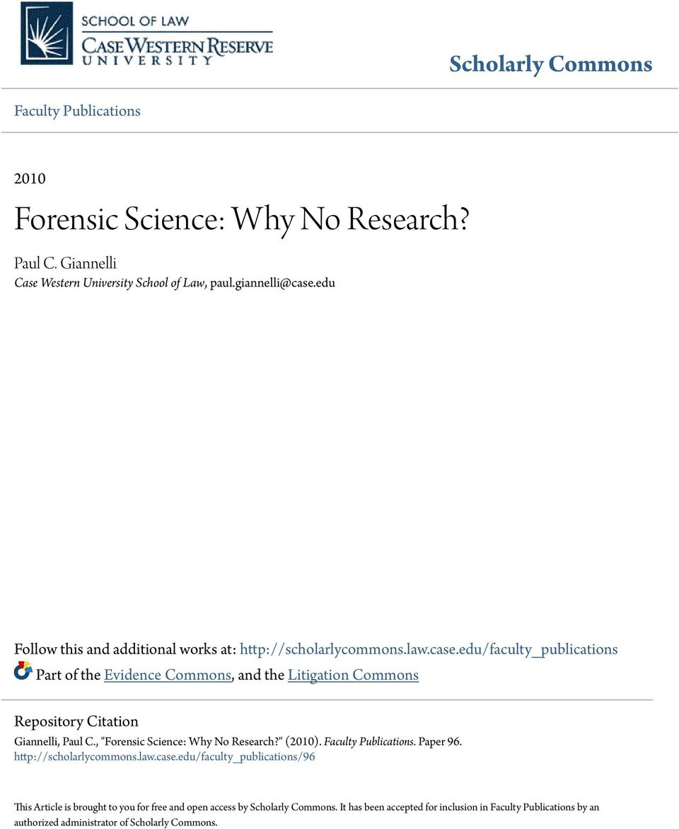 Forensic Science research paper report