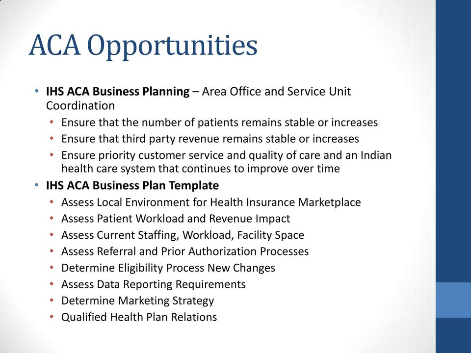 Plan Template Assess Local Environment for Health Insurance Marketplace Assess Patient Workload and Revenue Impact Assess Current Staffing, Workload, Facility Space Assess
