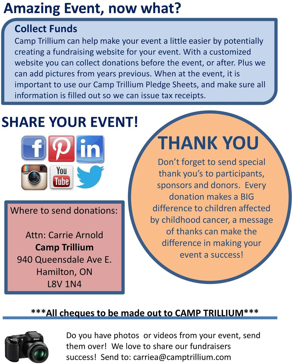 When at the event, it is important to use our Camp Trillium Pledge Sheets, and make sure all information is filled out so we can issue tax receipts. SHARE YOUR EVENT!