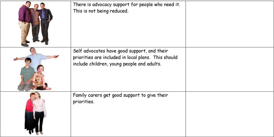 Self advocates have good support, and their priorities are included