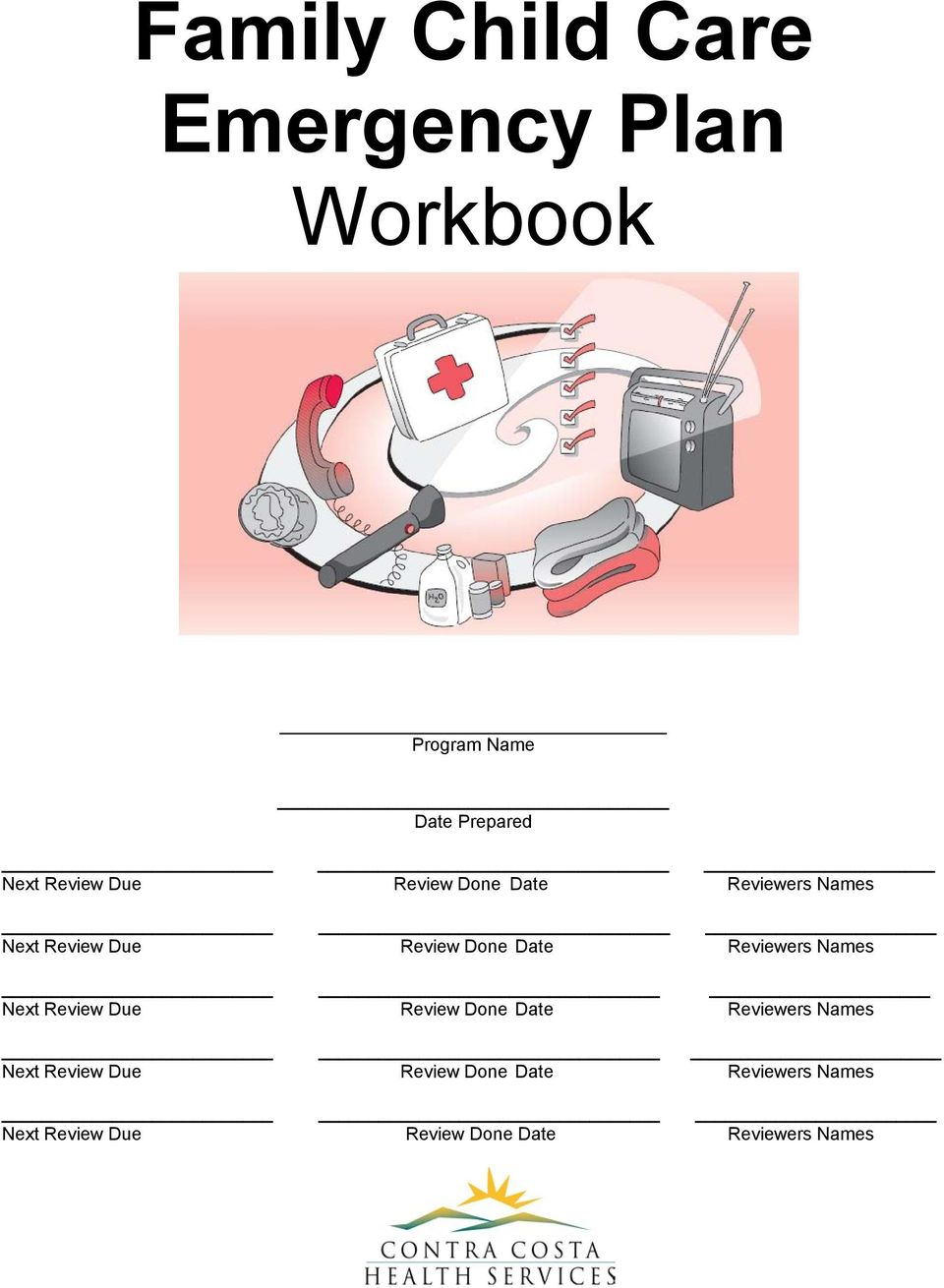 Family child care emergency plan workbook pdf for Family fire safety plan