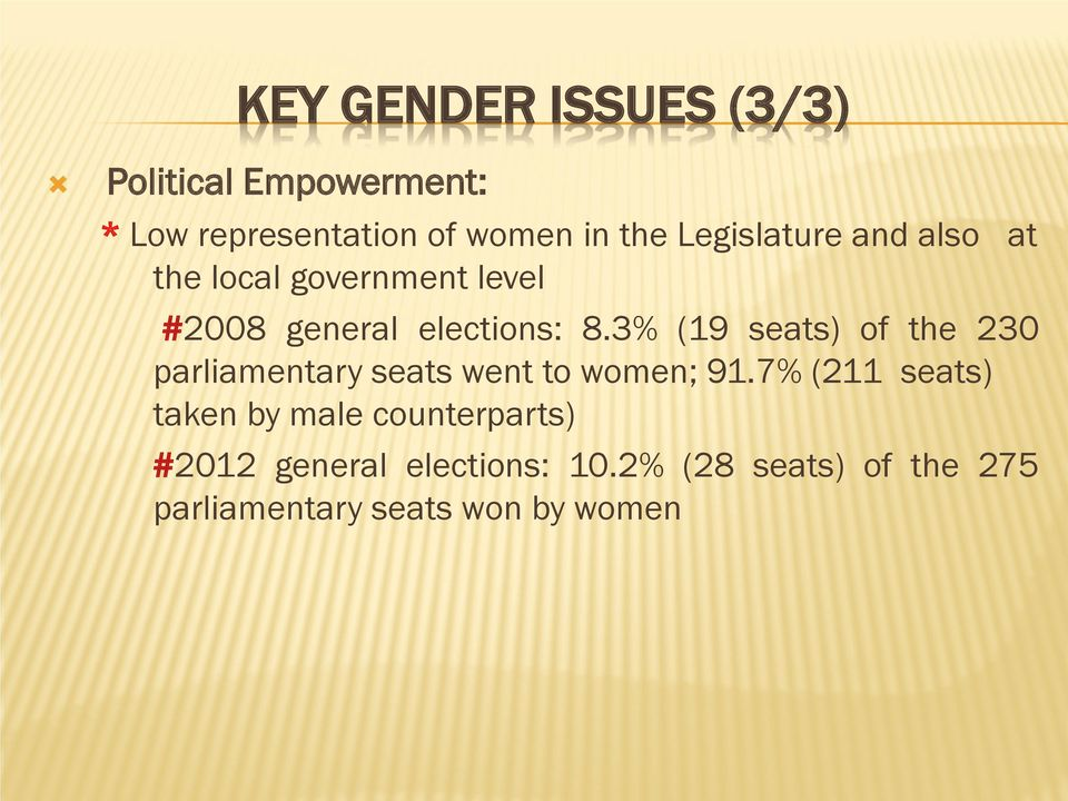 3% (19 seats) of the 230 parliamentary seats went to women; 91.