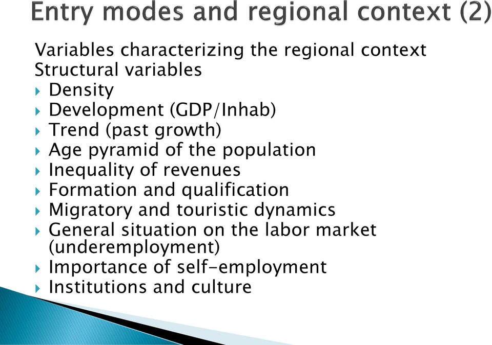 of revenues Formation and qualification Migratory and touristic dynamics General