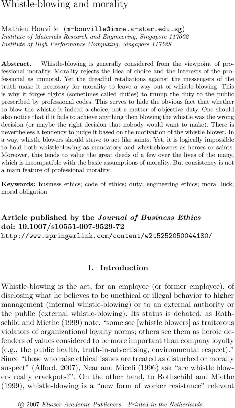 morality and whistle blowing Ethics of whistleblowing 1 what is what the law says about whistleblowing what's ethical about whistle blowing whistle blowing and morality.