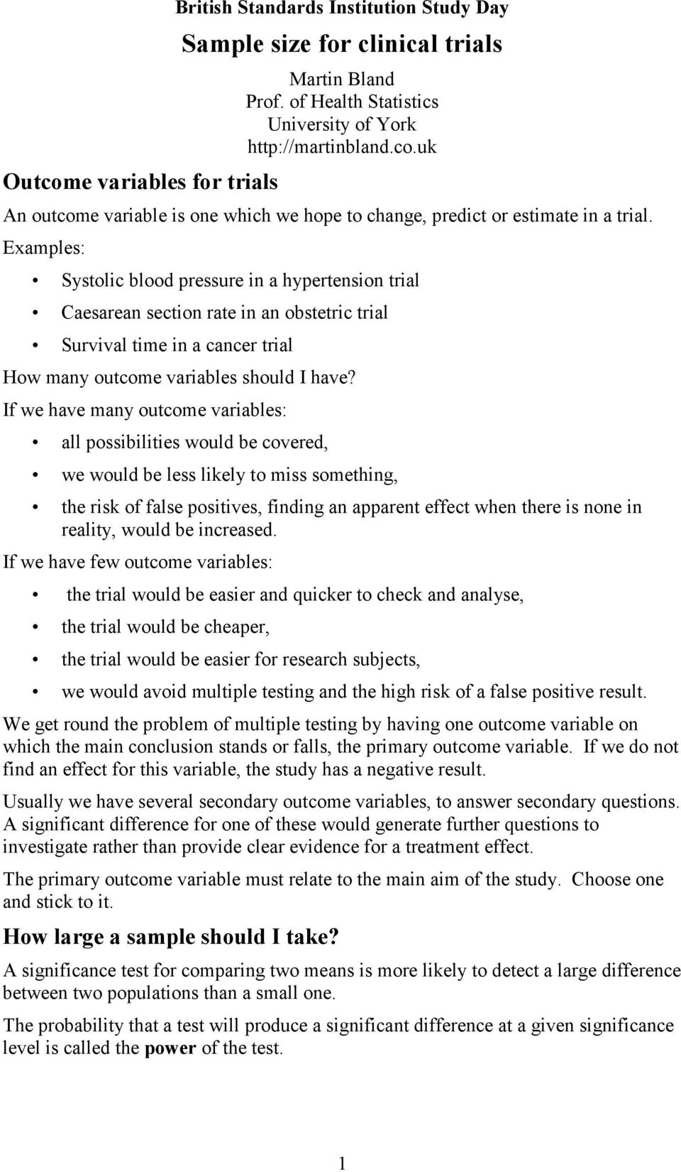 clinical outcome variables scale pdf
