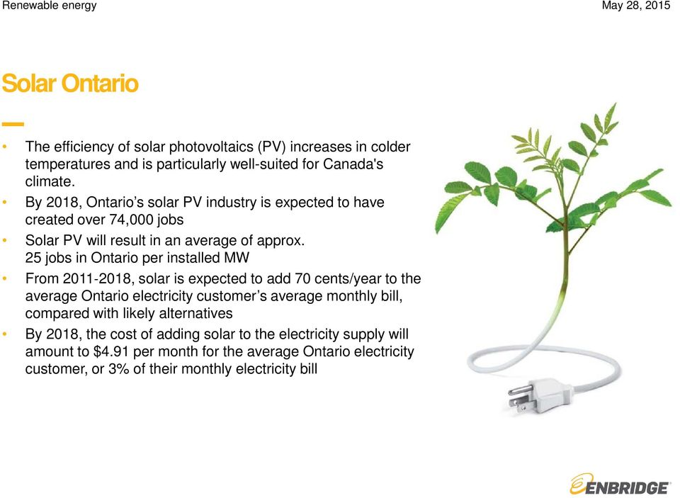 25 jobs in Ontario per installed MW From 2011 2018, solar is expected to add 70 cents/year to the average Ontario electricity customer s average monthly bill, compared