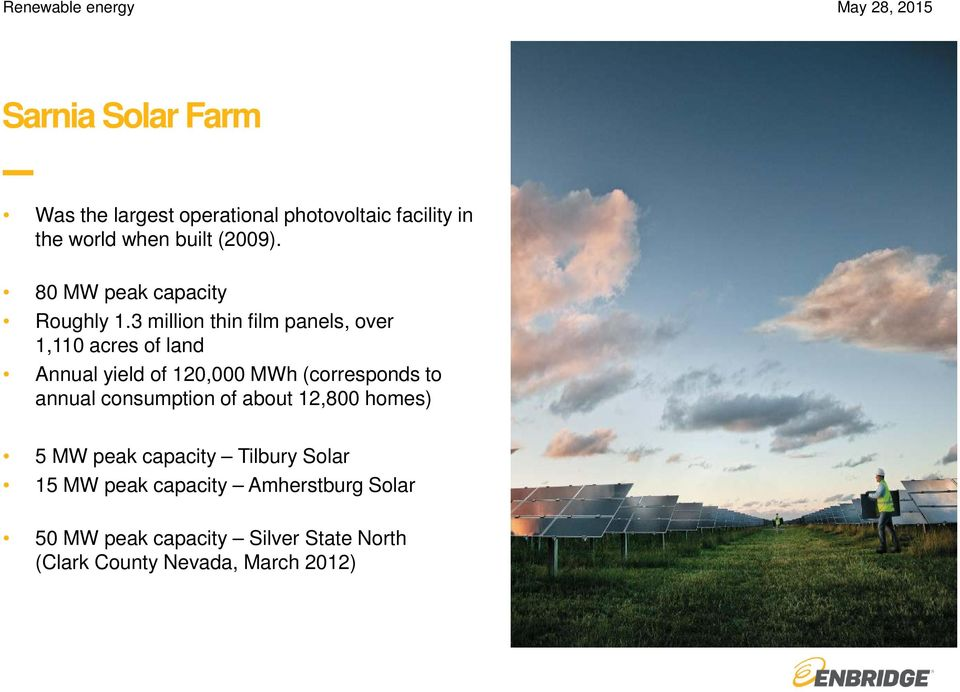 3 million thin film panels, over 1,110 acres of land Annual yield of 120,000 MWh (corresponds to annual