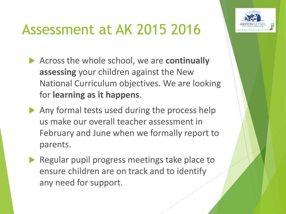 Any formal tests used during the process help us make our overall teacher assessment in February and June