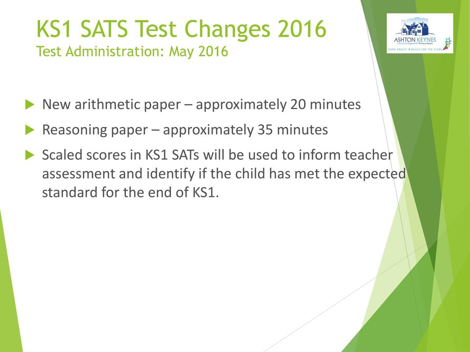 Scaled scores in KS1 SATs will be used to inform teacher assessment and