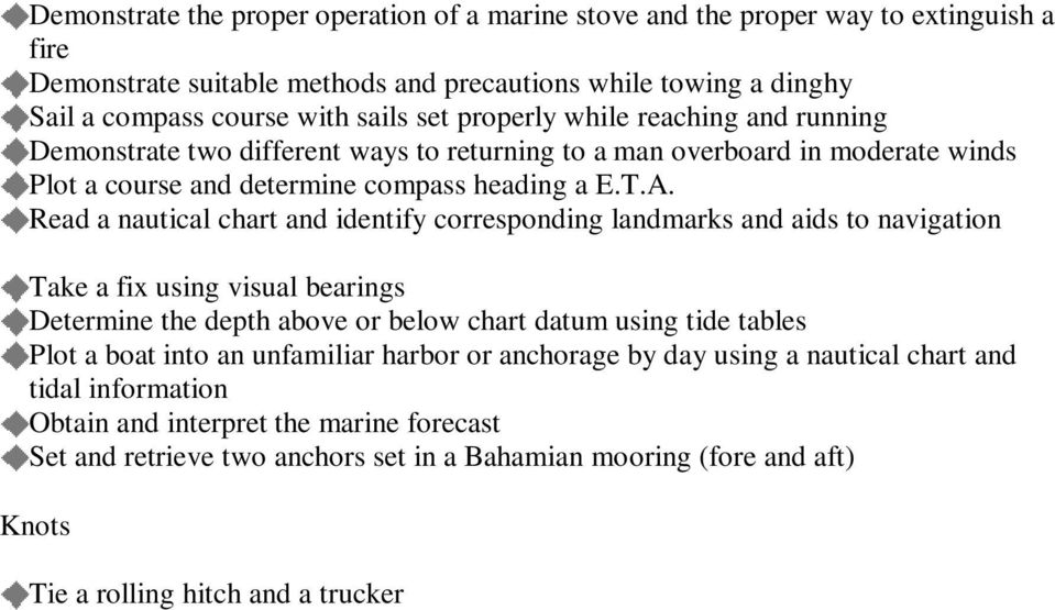 Read a nautical chart and identify corresponding landmarks and aids to navigation Take a fix using visual bearings Determine the depth above or below chart datum using tide tables Plot a boat into an