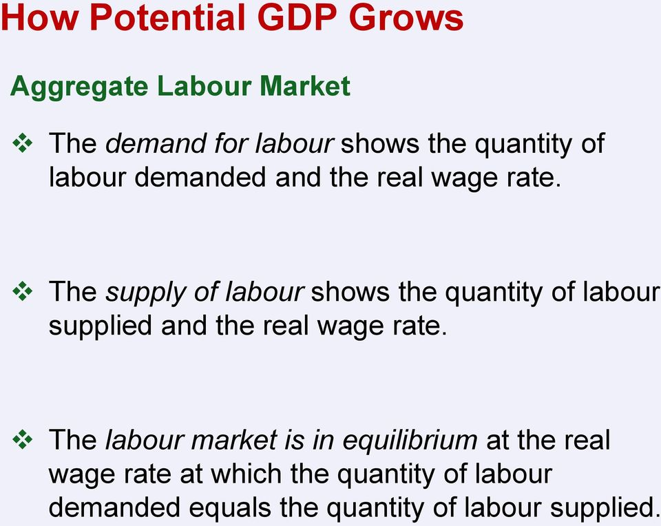 The supply of labour shows the quantity of labour supplied and the real wage rate.