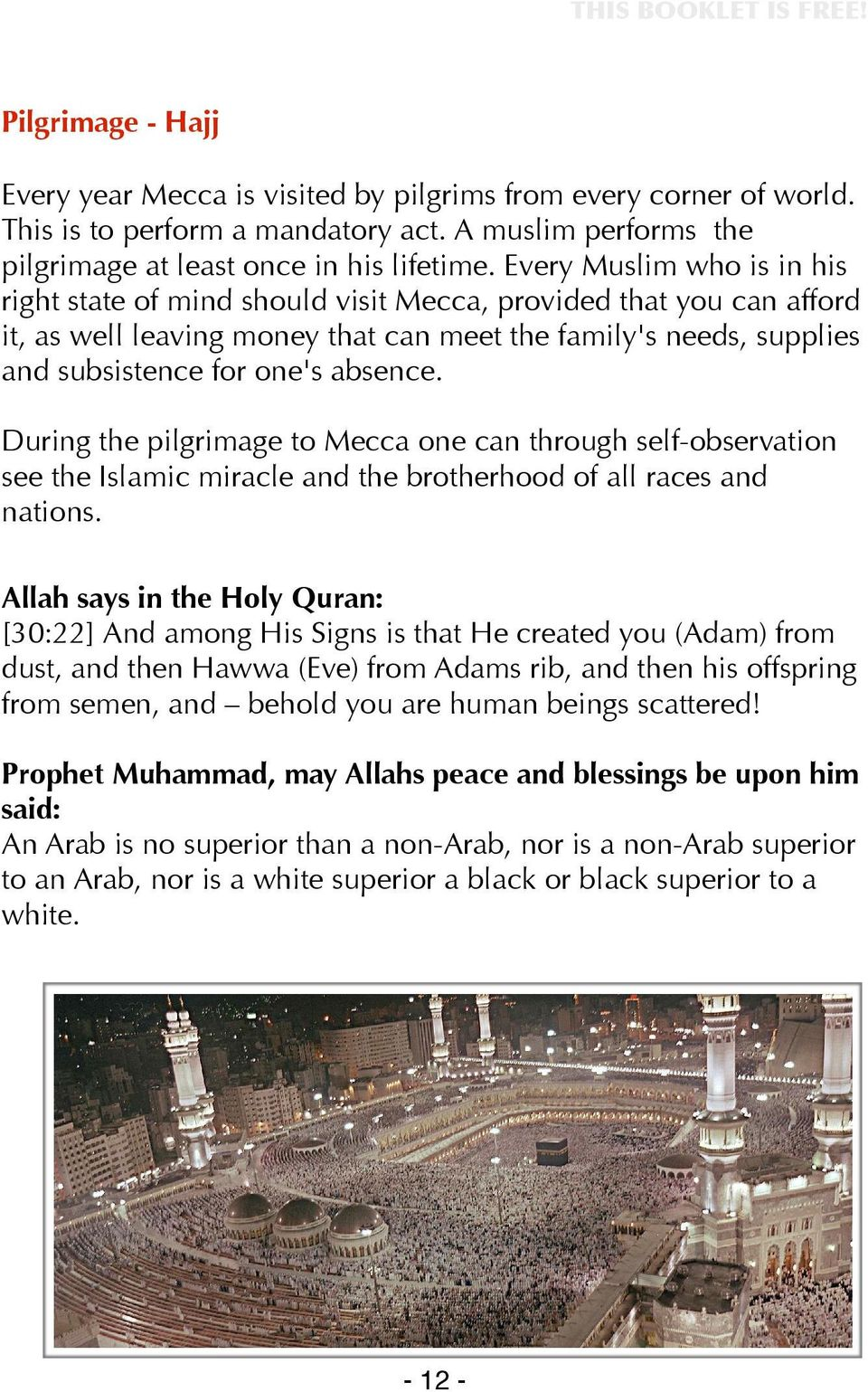 During the pilgrimage to Mecca one can through self-observation see the Islamic miracle and the brotherhood of all races and nations.