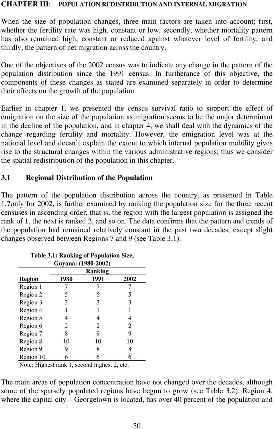 One of the objectives of the 2002 census was to indicate any change in the pattern of the population distribution since the 1991 census.