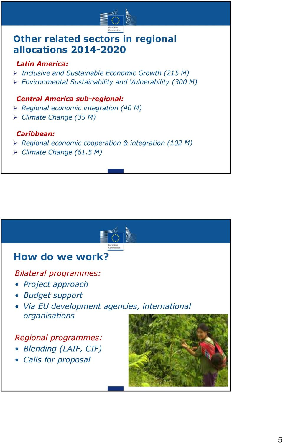Caribbean: Regional economic cooperation & integration (102 M) Climate Change (61.5 M) How do we work?