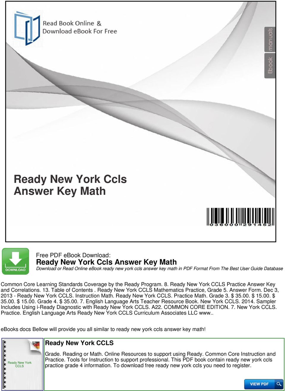 Workbooks houghton mifflin math practice workbook grade 4 : Ready New York Ccls Answer Key Math - PDF