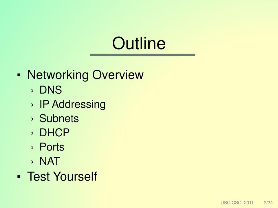 Addressing Subnets DHCP