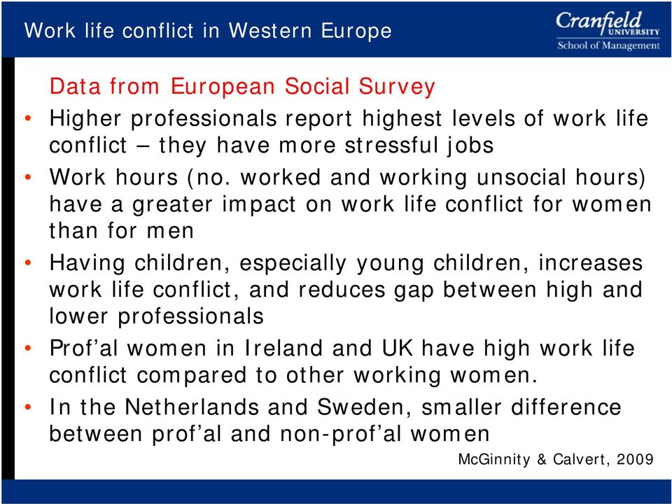 worked and working unsocial hours) have a greater impact on work life conflict for women than for men Having children, especially young children,