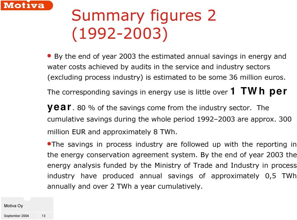 The cumulative savings during the whole period 1992 2003 are approx. 300 million EUR and approximately 8 TWh.