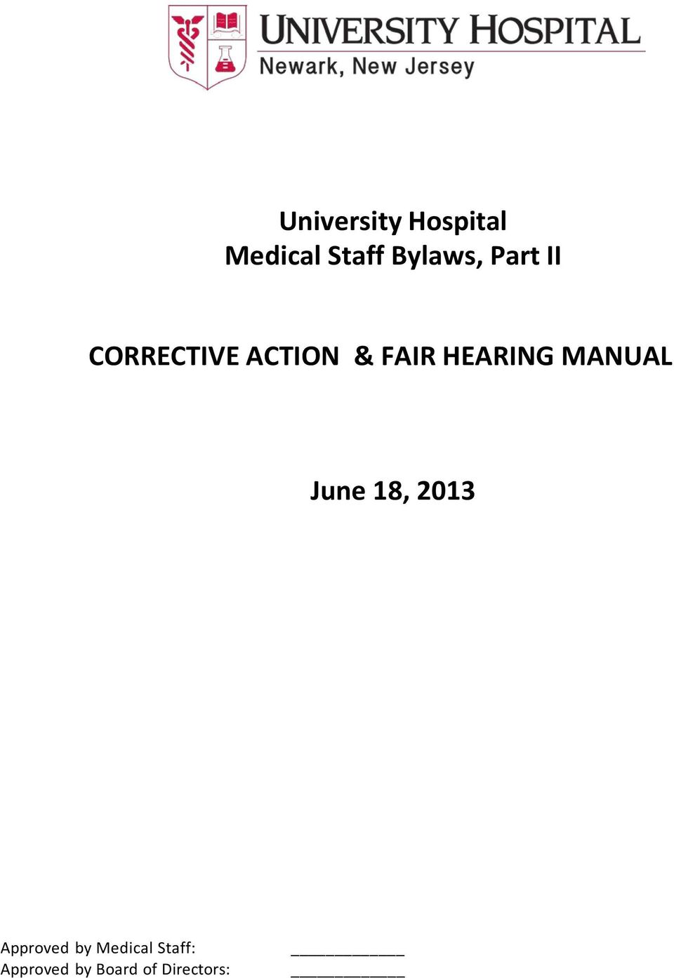 HEARING MANUAL June 18, 2013 Approved by