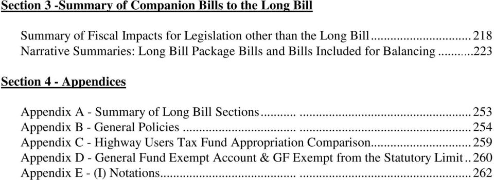 ..223 Section 4 - Appendices Appendix A - Summary of Long Bill Sections...... 253 Appendix B - Policies.