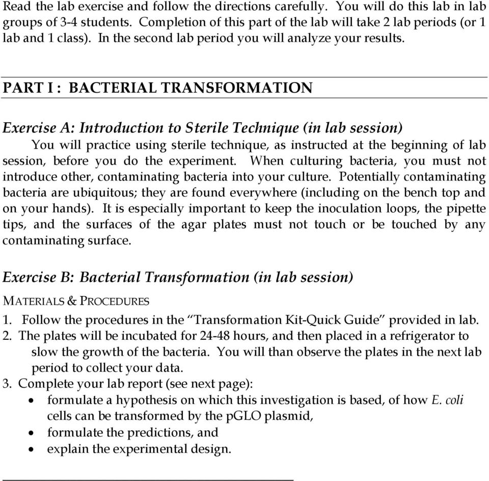 bacterial transformation lab answers Ap lab #6: pglo transformation lab - free download as word doc (doc / docx), pdf file (pdf) or read online for free.