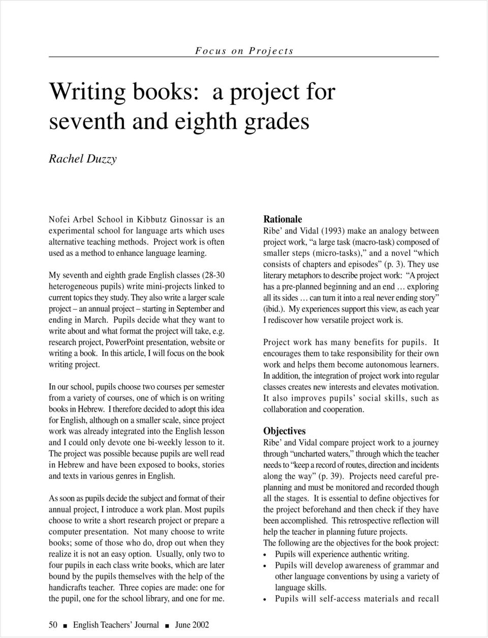Writing books: a project for seventh and eighth grades - PDF