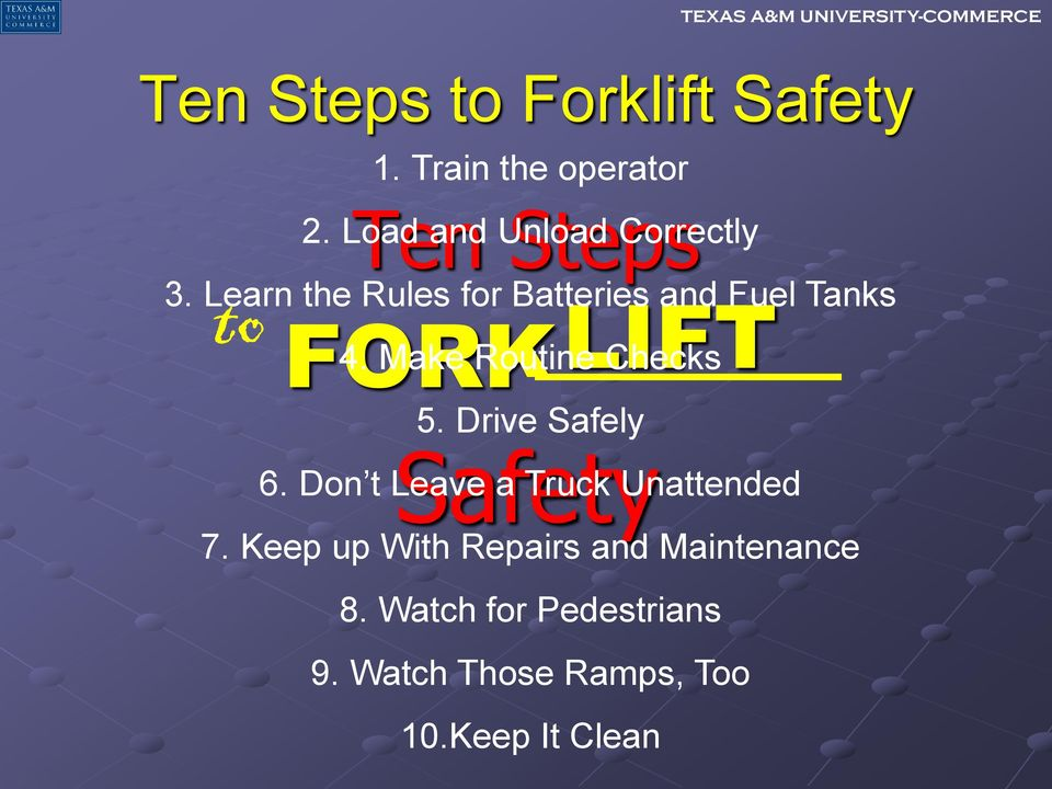 Learn the Rules for Batteries and Fuel Tanks FORK Safety LIFT 4.