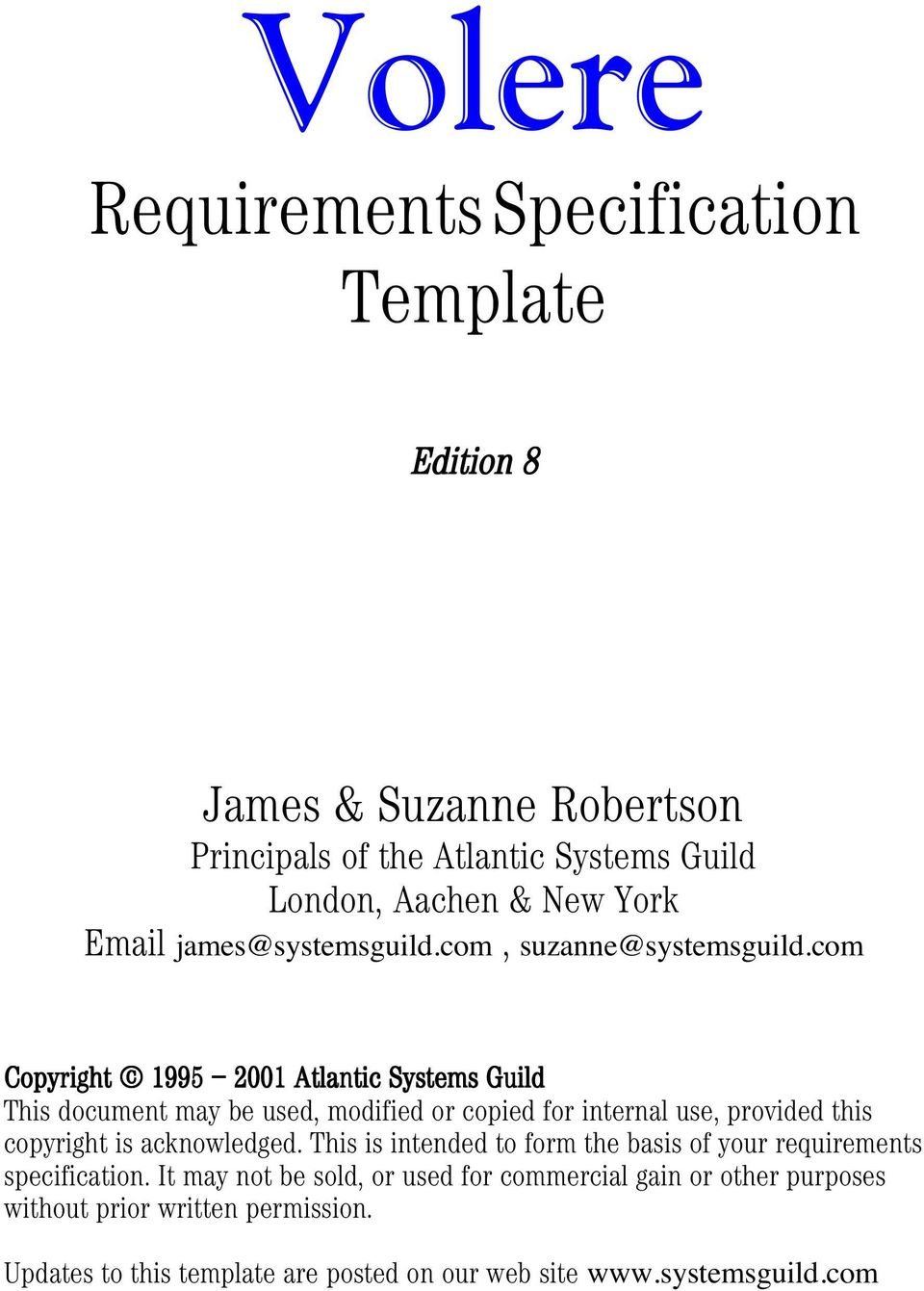 Volere requirements specification template james for Volere template free download