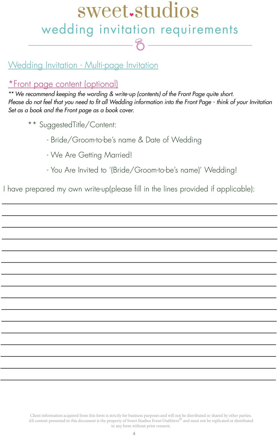 Please do not feel that you need to fit all Wedding information into the Front Page - think of your