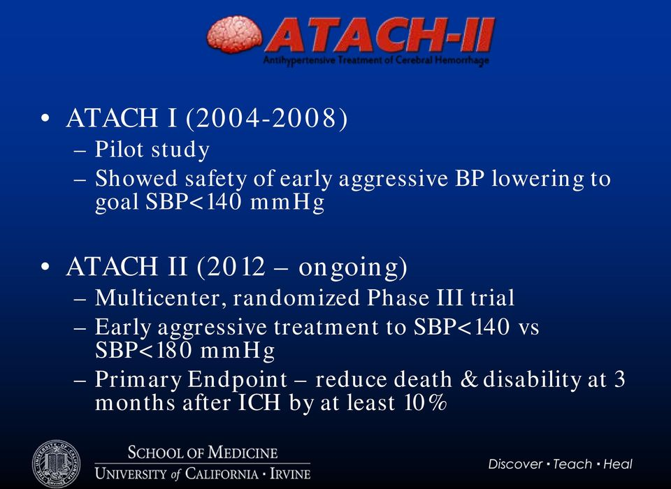 randomized Phase III trial Early aggressive treatment to SBP<140 vs