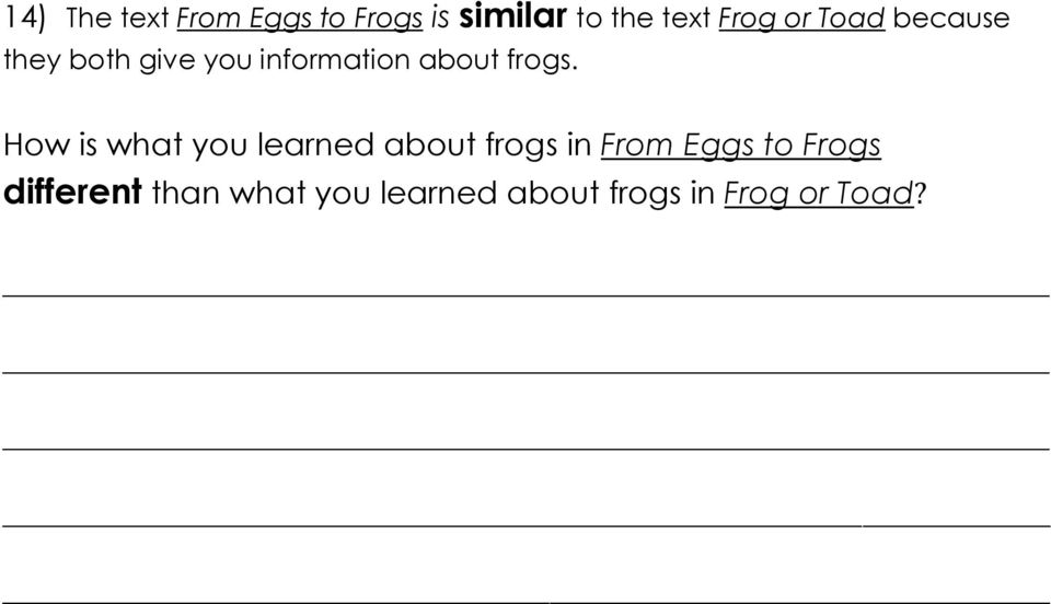 How is what you learned about frogs in From Eggs to Frogs