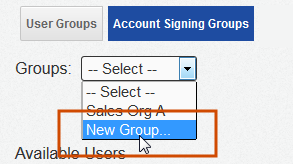 17 2. On the Groups page, click Account Signing Groups and select New Group from the Groups drop-down list. 3. Type the Group Name for the new Account Signing Group.