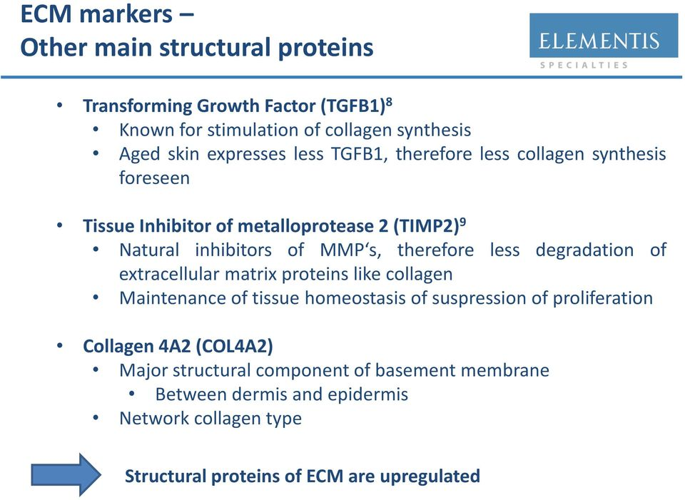 less degradation of extracellular matrix proteins like collagen Maintenance of tissue homeostasis of suspression of proliferation Collagen 4A2