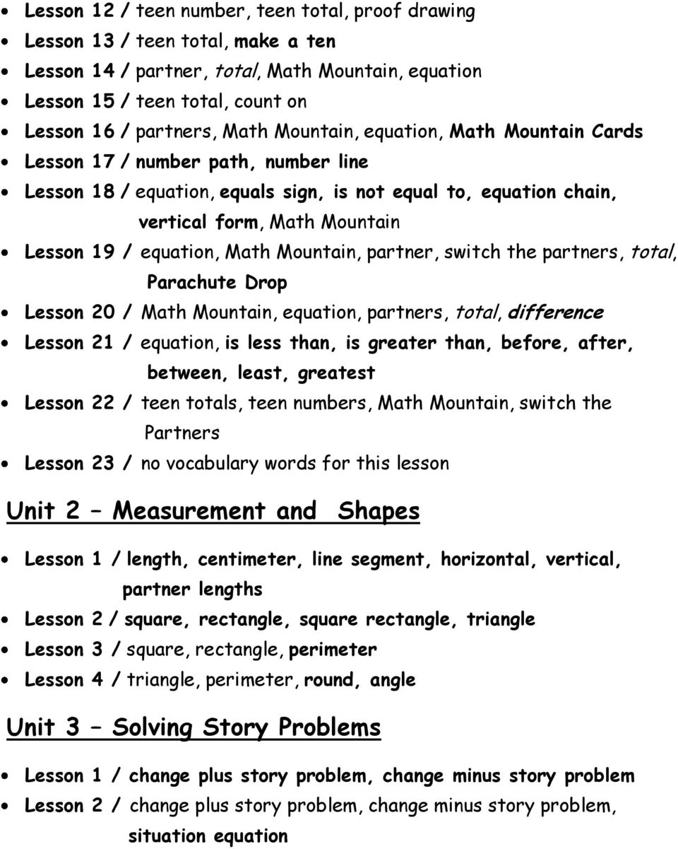 Math Mountain, partner, switch the partners, total, Parachute Drop Lesson 20 / Math Mountain, equation, partners, total, difference Lesson 21 / equation, is less than, is greater than, before, after,