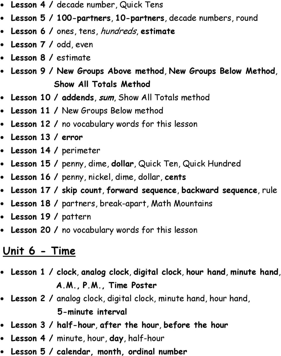 lesson Lesson 13 / error Lesson 14 / perimeter Lesson 15 / penny, dime, dollar, Quick Ten, Quick Hundred Lesson 16 / penny, nickel, dime, dollar, cents Lesson 17 / skip count, forward sequence,