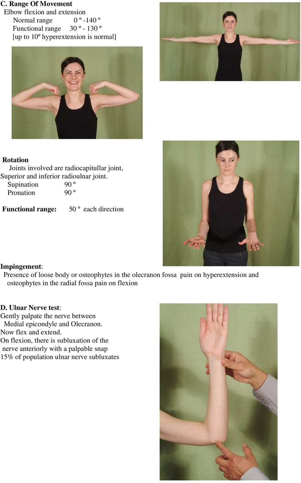 Supination 90 º Pronation 90 º Functional range: 50 º each direction Impingement: Presence of loose body or osteophytes in the olecranon fossa pain on hyperextension