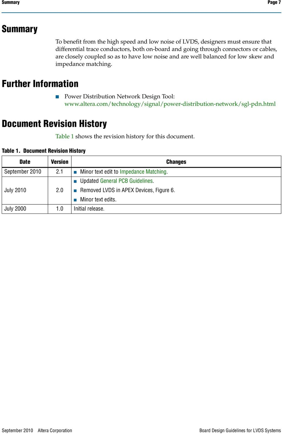 Document Revision History Power Distribution Network Design Tool: www.altera.com/technology/signal/power-distribution-network/sgl-pdn.html Table 1 shows the revision history for this document.