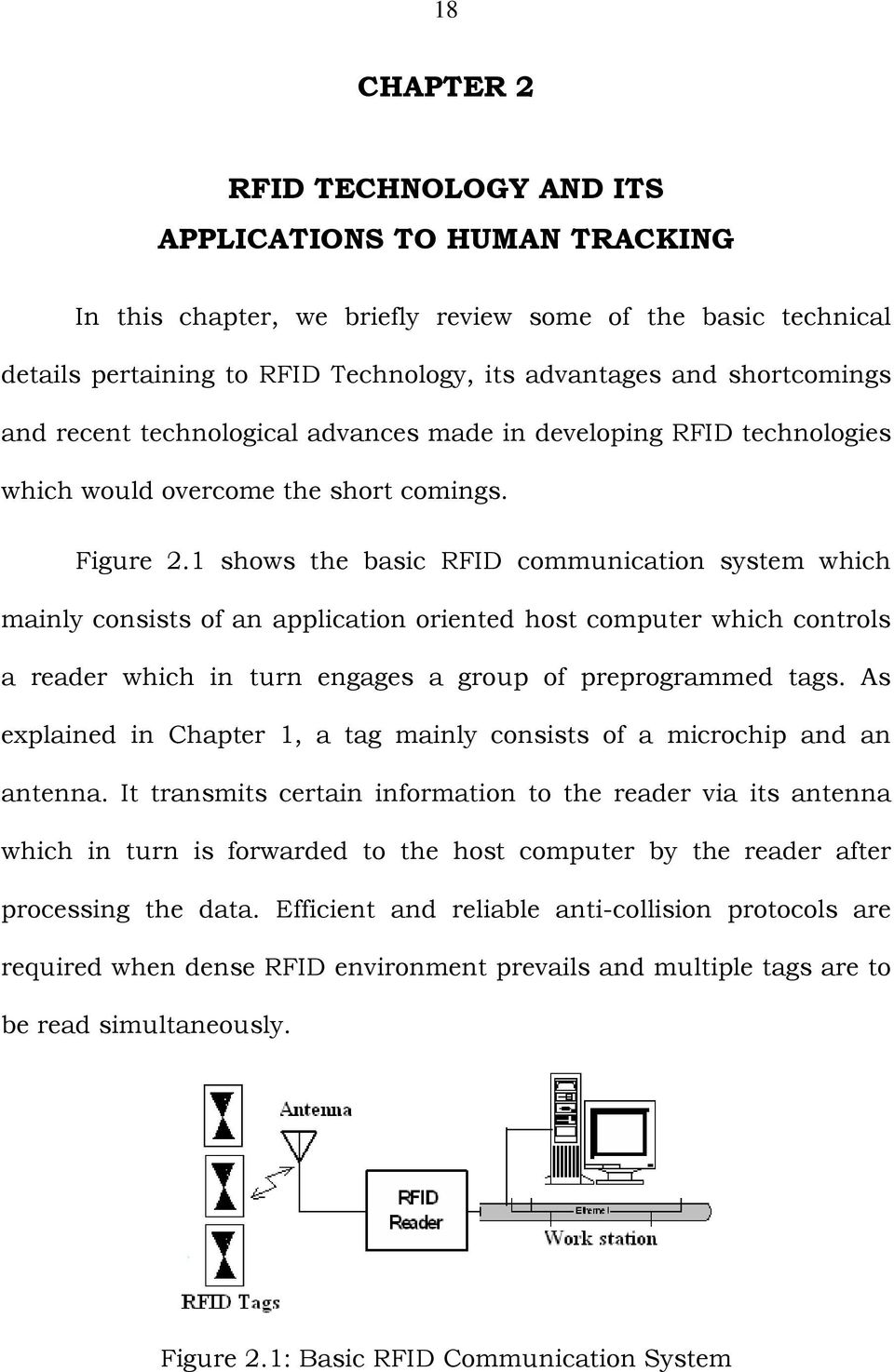 1 shows the basic RFID communication system which mainly consists of an application oriented host computer which controls a reader which in turn engages a group of preprogrammed tags.
