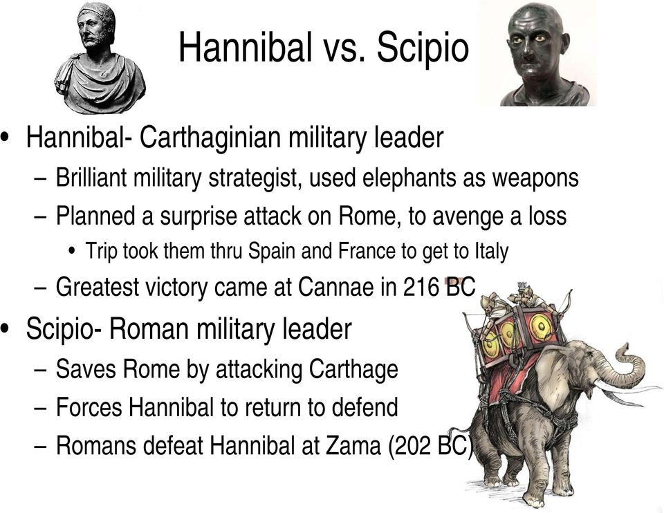 weapons Planned a surprise attack on Rome, to avenge a loss Trip took them thru Spain and France to