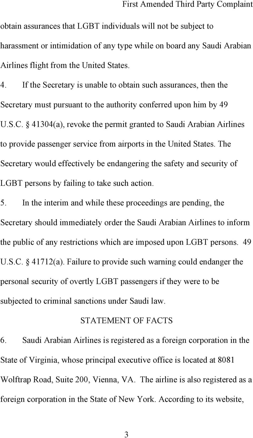 41304(a), revoke the permit granted to Saudi Arabian Airlines to provide passenger service from airports in the United States.